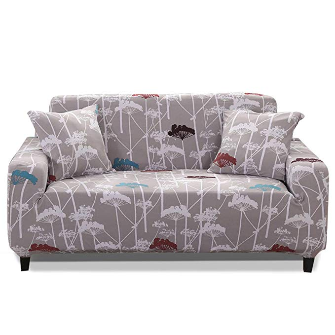 HOTNIU 1-Piece Stretch Sofa Couch Covers - Spandex Printed Loveseat Couch Slipcovers - Arm-chair Furniture Cover/Protector Elastic Bottom Straps, Anti-Slip Foams (4 Seater Sofa, Printed #46)