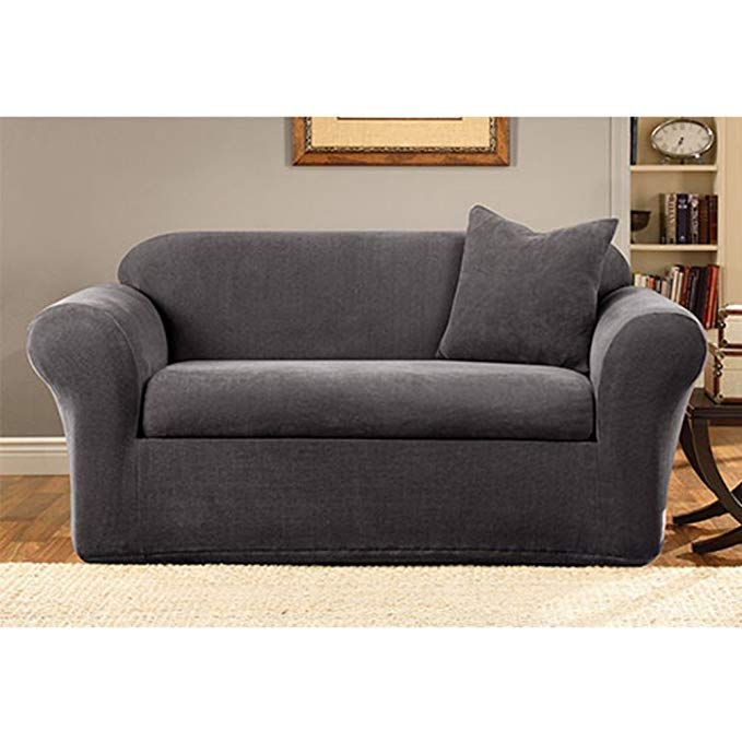 Sure Fit Stretch Metro 2-Piece - Sofa Slipcover - Gray (SF39413)