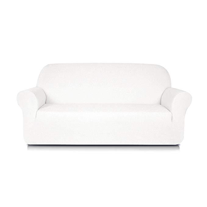 Subrtex 1-Piece Jacquard Spandex Stretch Sofa Slipcovers (Sofa, Off-White)