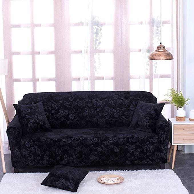 Elastic slipcover sofa sets,Sofa cover full cover universal sofa cover embossed fabric european sofa cover for living room -black Loveseats