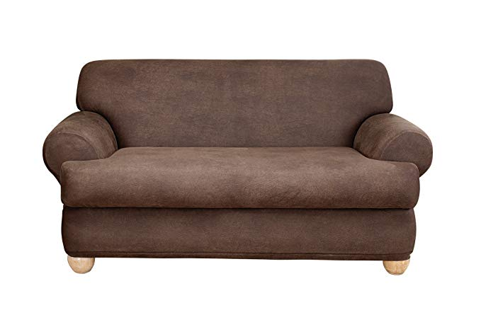 Sure Fit Stretch Leather 2-Piece - Loveseat Slipcover - Brown (SF37329)