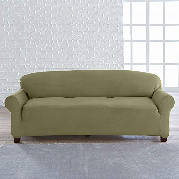 BrylaneHome Studio Vera Stretch Velvet Extra-Long Sofa Slipcover (Moss Green,0)