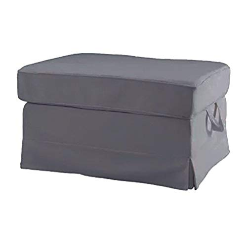 Replace Cover for IKEA Ektorp Footstool, 100% Cotton Sofa Cover for Ektorp Footstool (Gray)
