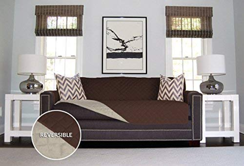 The Original SOFA SHIELD Reversible Slipcover Furniture Protector, Features 2 Inch Elastic Strap (Sofa Extra Wide: Chocolate/Beige)