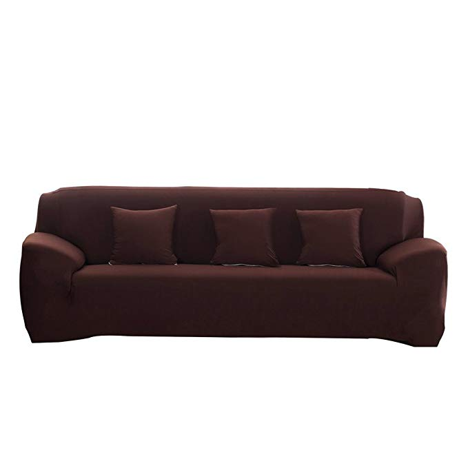 DIFEN Brown 3 Seater Stretch Elastic Polyester Spandex Slipcover