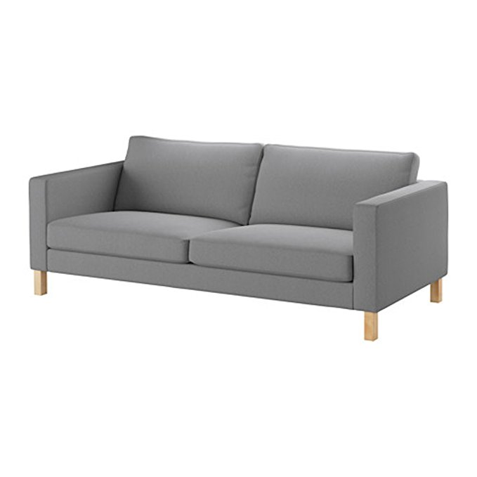 Ikea KARLSTAD Sofa cover slipcover, Knisa light gray grey, 603.230.16 [Exact Fit Cover For IKEA Karlstad Knisa Light Gray Only]