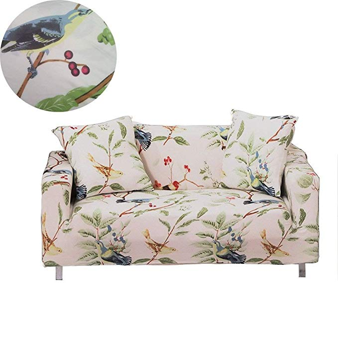 ENZER Stretch Sofa Slipcover Flower Bird Pattern Chari Loveseat Couch Cover Elastic Fabric Kids Pets Protector (3 Seater, Bird Pattern)