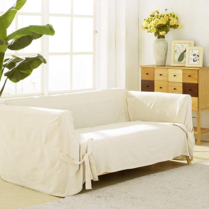 Deconovo Loveseat Cover Recycled Cotton Strap Sofa Slipcover Couch Cover for 2 Cushion Sofa Beige One Piece
